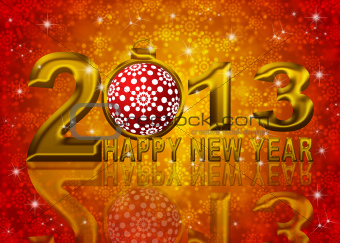 Gold 2013 Happy New Year Snowflakes Ornament Illustration
