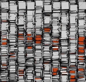 abstract fragmented backdrop pattern in chrome silver orange