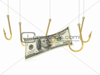 A hundred dollar bill on the hook