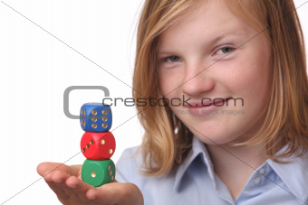 Girl with dices