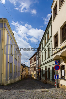 Old street in Olomouc , Czech Republic.