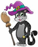 Cartoon cat with Halloween hat