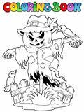 Coloring book Halloween scarecrow