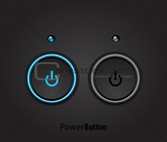 Black led light power button