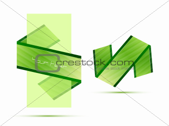 Green translucent banner and ribbon