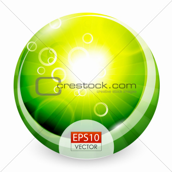 Green shiny sphere background