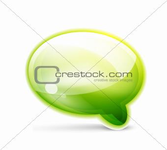 Green glossy speech bubble icon