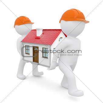 Two workers in orange hard hats have a house with red roof