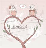 Valentine's day card. Cute bird in love. Heart shape branch.