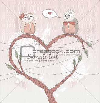 Valentine's day card. Cute bird in love. Heart shape branch.