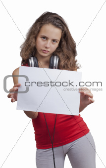 a girl holding a blank sheet of paper  and headphones