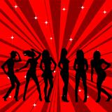 Beautiful and sexy girl silhouettes dancing