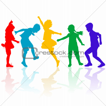 Colored silhouettes of happy children playing