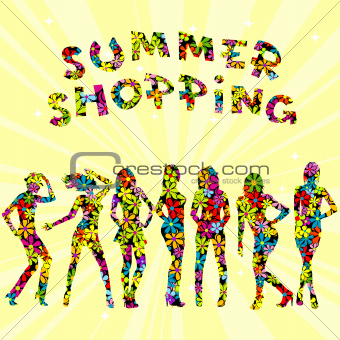 Summer shopping advertising with flowers patterned women silhoue