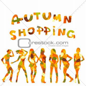 Autumn shopping advertising with falling leaves patterned women