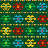 Green carpet with ethnic motifs
