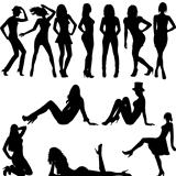 Set of sexy women silhouettes