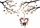 birds on autumn tree in heart nest, vector 
