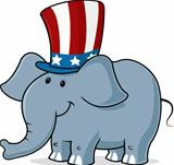 vector image of a elephant wearing uncle sam hat