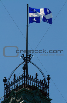 Quebec Flag Flying over tower