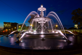 Time Exposure of fountain in Quebec City