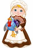 Pilgrim lady with turkey