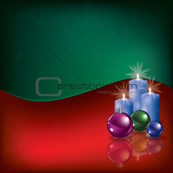 grunge background with Christmas decorations and candles