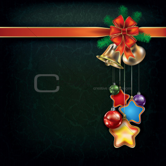 grunge Christmas background with handbells and decorations