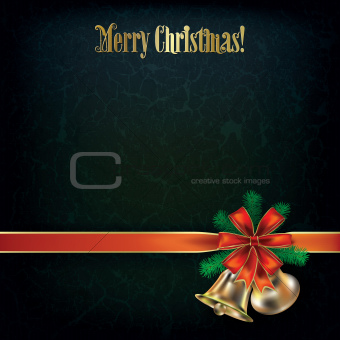 grunge Christmas greeting with bells and red ribbon