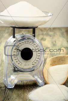 Kitchen scales. Measure of the weight of sugar.
