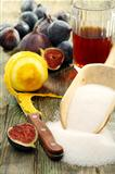 Ingredients for making jam of figs.