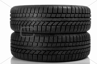 Tyres over pure white background.
