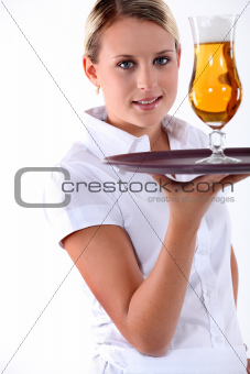 portrait of a young waitress