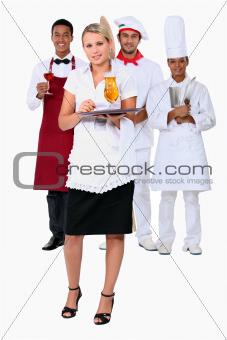 Working in a restaurant