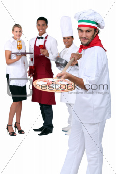 Italian pizza chef and restaurant staff
