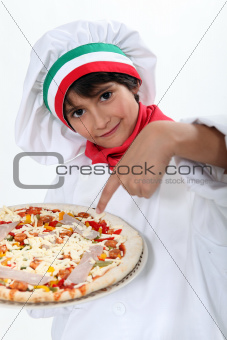 pizza boy carrying a pizza