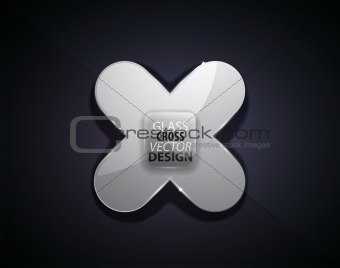 Black cross vector transparent icon