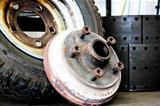 truck wheel removed for repairs