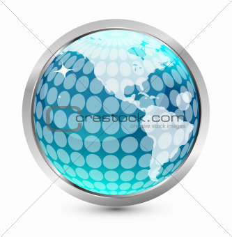 Earth globe arrow icon