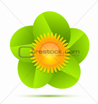 Nature sun and leaves icon