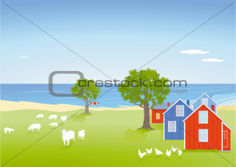 Coastal landscape with houses