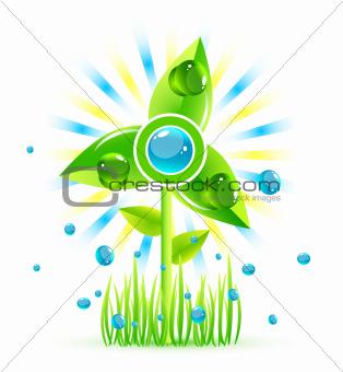 Green eco windmill icon