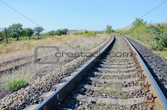 Railway track in summer
