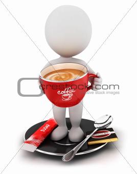 3d white people takes a coffee break