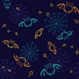 Bats and web Halloween seamless background