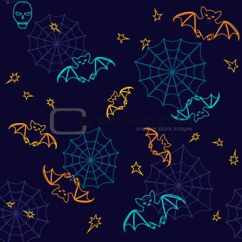 Bats and web Halloween seamless background