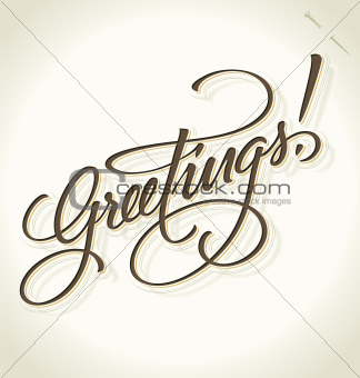 GREETINGS hand lettering (vector)