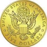 vector American Money, gold Dollar with the image of eagle