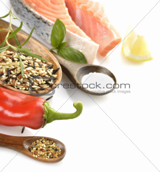 Slice Of Salmon And Wild Rice