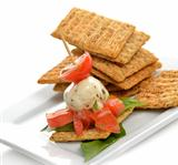 Crackers With Mozzarella And Tomatoes